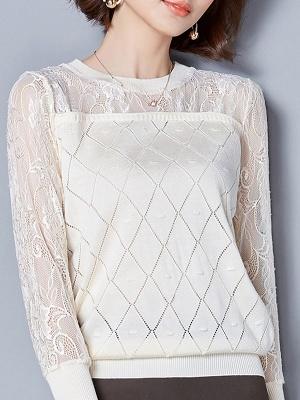 Shift Casual Long Sleeve Geometric Sweater_12