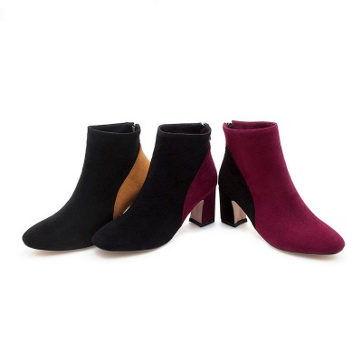 Women Daily Chunky Heel Suede Color Block Boots_8