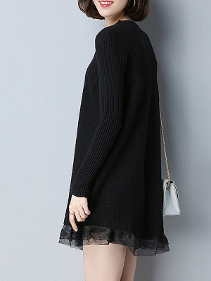 Long Sleeve Solid Casual Crew Neck Cotton Sweater_4