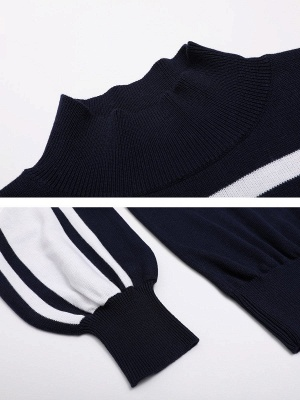 Royal blue Solid Balloon Sleeve Sweater_5