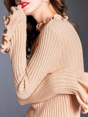 Apricot Wool Bateau/boat neck Solid Casual Sweater_6