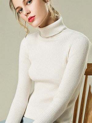 Sheath Turtleneck Ribbed Casual Long Sleeve Sweater_1