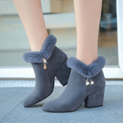 Suede Daily Zipper Chunky Heel Fur Pointed Toe Boot_2