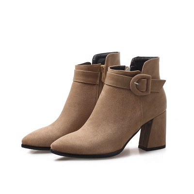 Daily Chunky Heel Suede Round Toe Boot_1
