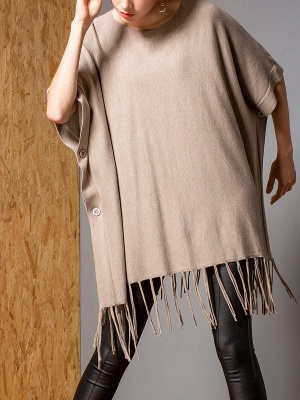 Casual Shift Crew Neck Batwing Sweater_7
