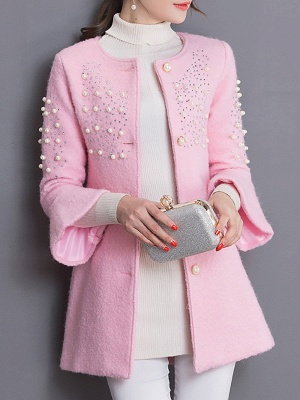 Bell Sleeve Work Shift Buttoned Beaded Coat_2