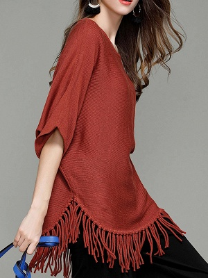 Casual Solid Batwing Sweater_5