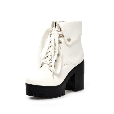 Chunky Heel Lace-up PU Daily Round Toe Boot_7