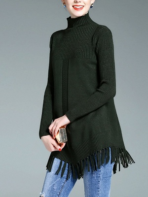 Turtleneck Long Sleeve Elegant Solid Fringed Sweater_4