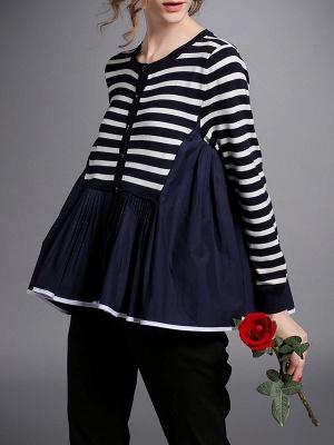 Royal blue Striped Long Sleeve Shift Sweater_7