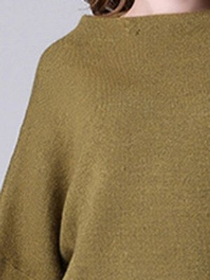 Olive Green Slash Neck Knitted Long Sleeve Sweaters_5