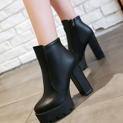 Chunky Heel Daily Zipper Round Toe Boots_3