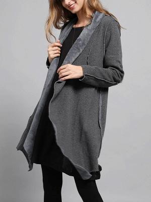 Shawl Collar Asymmetric Solid Casual Long Sleeve Coat_6