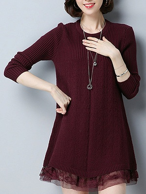 Long Sleeve Solid Casual Crew Neck Cotton Sweater_3