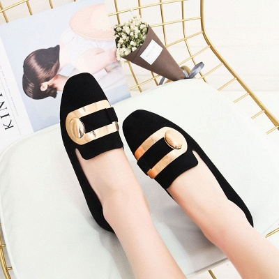 Daily Chunky Heel Suede Square Toe Loafers_8