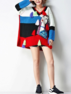 Multicolor Graphic V neck Knitted Statement Batwing Sweater_4