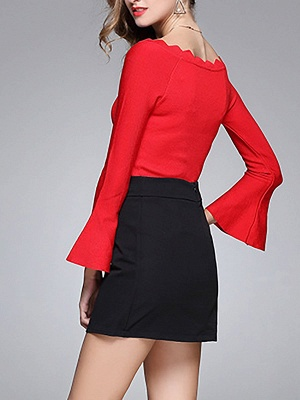 Sheath Solid Casual Crew Neck Frill Sleeve Sweater_6