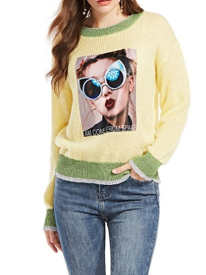 Yellow Long Sleeve Graphic Sweater_3