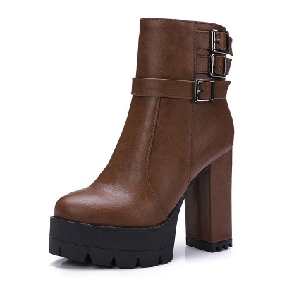 Daily Chunky Heel Zipper Round Toe Buckle Boots_14