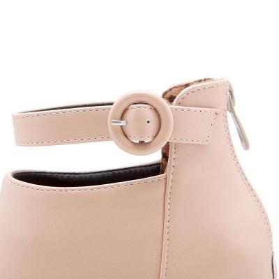 Chunky Heel PU Daily Tie Round Toe Boots_12