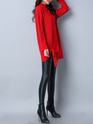 Long Sleeve Casual Stand Collar Knot Front Sweaters_9