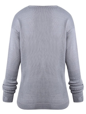 Gray H-line Long Sleeve Knitted Sweater_11