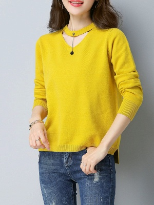 Choker Neck Long Sleeve Solid Sweater_1