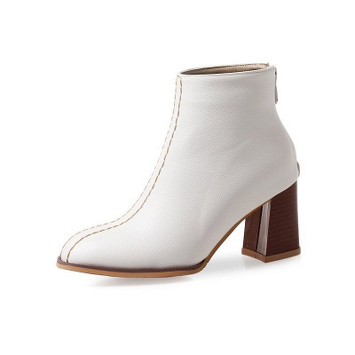 Chunky Heel PU Zipper Daily Pointed Toe Boots_1