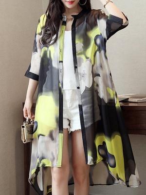 Asymmetric Stand Collar 3/4 Sleeve Holiday Chiffon Coat_3