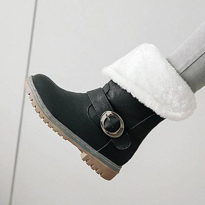 Women's Boots Round Toe Black Low Heel Boots_8