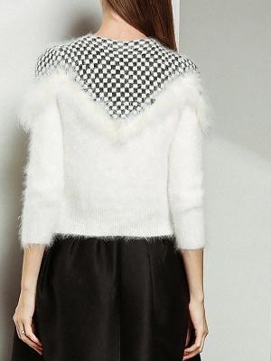Long Sleeve Checkered/Plaid Sheath Casual Sweater_4