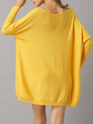 Shift Paneled Solid Casual Long Sleeve Sweater_7