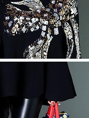 Black Elegant Shift Glitter-finished Animal Sweater_5