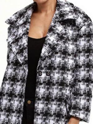 Black-white Houndstooth H-line Casual Coat_4