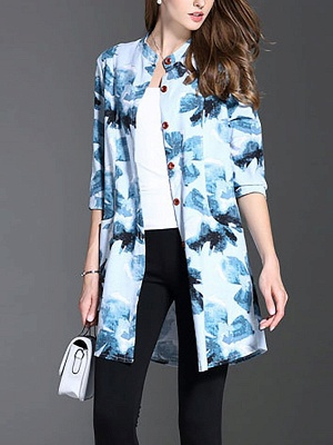 Long Sleeve Casual Stand Collar Shift Floral Coat_3