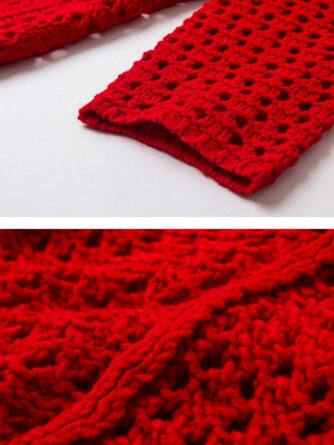 Red Geometric Shift Long Sleeve Sweater_5