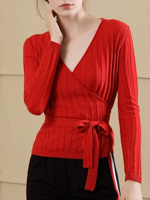 Velvet Plunging neck Casual Knitted Long Sleeve Sweater_1