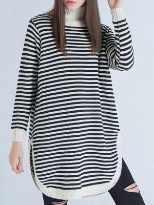 Beige Long Sleeve Turtleneck Stripes Sweater_4