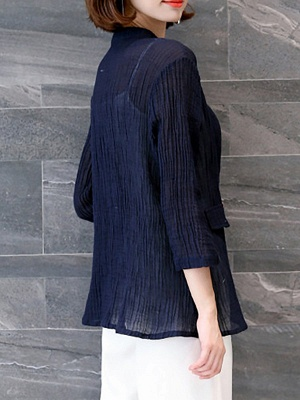 Navy Blue Pleated Casual Pockets 3/4 Sleeve Solid Coat_3