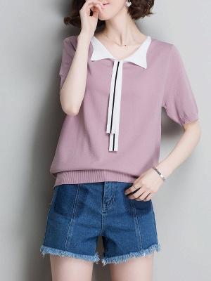 Sweater Shirt Collar Ice Yarn Knit Shift Daytime Knitwear_2