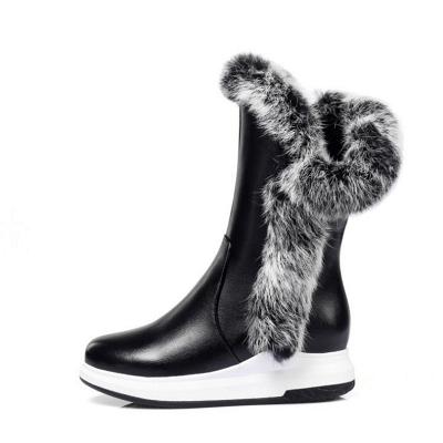 Wedge Heel Daily Zipper Round Toe Boots_7