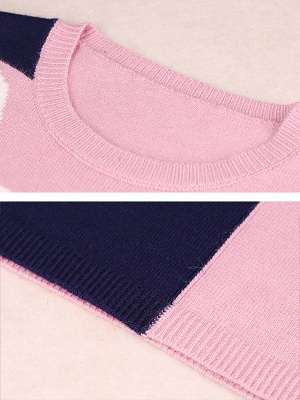 Casual Graphic Long Sleeve Color-block Sweater_11