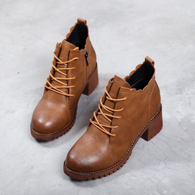 Chunky Heel Zipper Round Toe Lace-up Boots_7