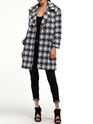 Black-white Houndstooth H-line Casual Coat_3