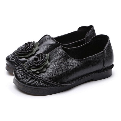 Flower Round Toe Casual Leather Loafers_3