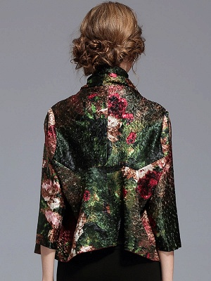 Green Printed Asymmetrical Vintage Reversible Crinkled Coat_3