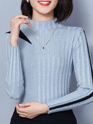 Solid Stand Collar Long Sleeve Casual Sheath Sweater_5