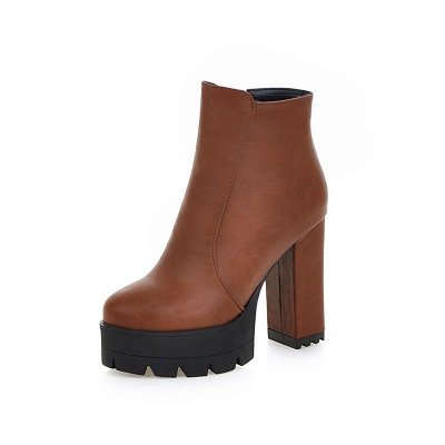 Chunky Heel Daily Zipper Round Toe Boots_11