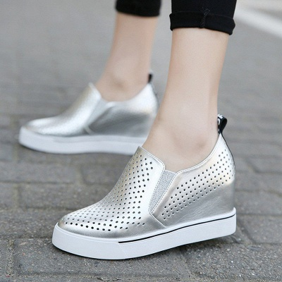 Hollow-out Wedge Heel Daily Pointed Toe Loafers_3