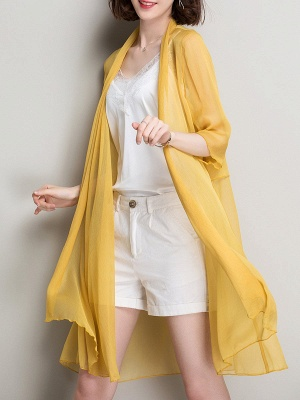 Shawl Collar Coat Swing Daytime Solid Outerwear_12